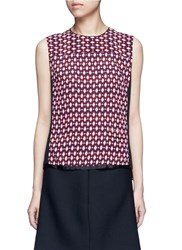 Marc Jacobs Vintage Diamond Print Silk Sleeveless Blouse Multi Colour