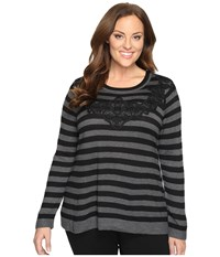 Vince Camuto Plus Size Long Sleeve Stripe Sweater With Lace Applique Medium Heather Grey Women's Sweater Gray