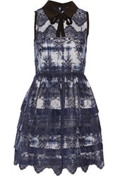 Marissa Webb Owen Embroidered Silk Organza Mini Dress Storm Blue