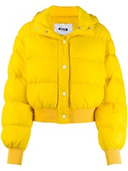 Msgm Hooded Puffer Jacket Yellow