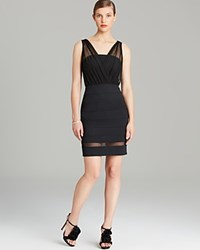 Laundry By Shelli Segal Dress Seamed Knit With Mesh Overlay Black