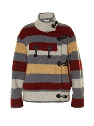Etoile Isabel Marant Fred Blanket Stripe Patch Pocket Jacket Grey Multi