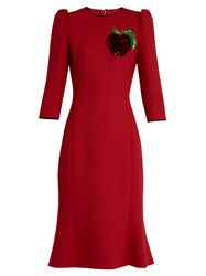 Dolce And Gabbana Apple Applique Twill Dress Red