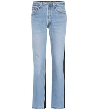 Vetements Leather And Denim Jeans Blue