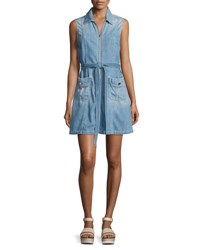 7 For All Mankind Belted Zip Front Denim Dress Indigo