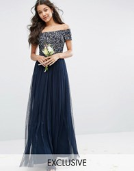 Maya Bardot Maxi Dress With Delicate Sequin And Tulle Skirt Navy