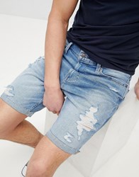 Hollister Skinny Destroyed Denim Shorts In Mid Wash Mid Wash Blue