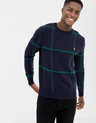 Jack Wills Zachery Window Pane Check Jumper In Navy