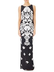 Adrianna Papell Beaded Square Neck Column Gown Black Ivory