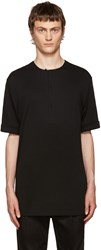Helmut Lang Black Rolled Cuff Henley