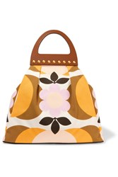 Miu Miu Studded Leather Trimmed Floral Print Canvas Tote Yellow