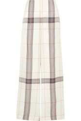 Roland Mouret Tayport Checked Woven Wide Leg Pants Ivory