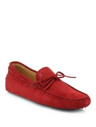Tod's Gommino Suede Moccasins Red