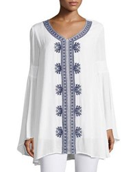Joan Vass Embroidered Bell Sleeve Tunic White Blue