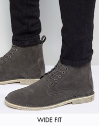 Asos Wide Fit Desert Boots In Grey Suede With Leather Detail Grey