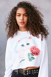 Truly Madly Deeply Airbrush Cat Crop Pullover Sweatshirt White