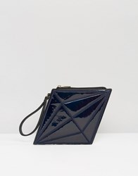 Daisy Street Diamond Clutch Bag Black Oil Slick