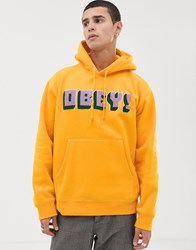 Obey Bean Hoodie With Chenille Logo In Yellow