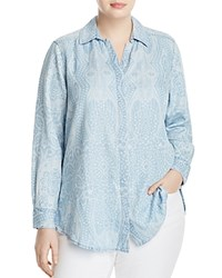 Foxcroft Plus Paisley Print Shirt Blue Wash