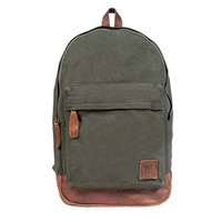 Mahi Leather Canvas Classic Backpack Rucksack In Forest Green Canvas