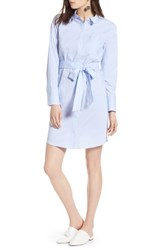 Halogen Stretch Cotton Poplin Shirtdress Blue End Ptn