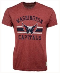 Retro Brand Men's Washington Capitals Stripe Mock Twist T Shirt Red