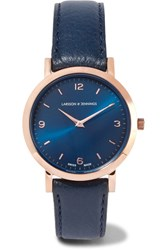 Larsson And Jennings Lugano Leather Rose Gold Plated Watch Midnight Blue