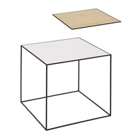 By Lassen Twin Table White And Oak Medium