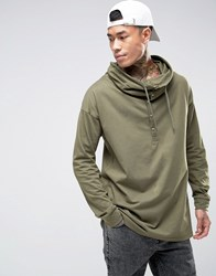 Asos Oversized Long Sleeve T Shirt With Button Up Funnel Neck Green