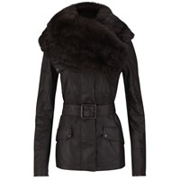 Knutsford Women's Wax Cotton Field Jacket With Detachable Toscana Collar Dark Brown