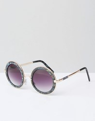Asos Round Sunglasses With Metal Sandwich And Double Nose Bridge In Acetate Transfer Multi