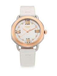 Fendi Selleria Diamond Mother Of Pearl 18K Rose Goldplated Stainless Steel And Alligator Strap Watch White Rose Gold