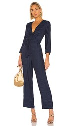 1.State 1. State Front Tie Waist Jumpsuit In Blue. Blue Night
