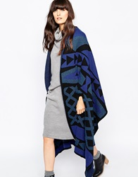 Paisie Wool Poncho In Geometric Pattern Knit Multi