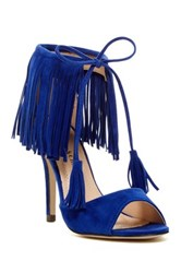 Chase And Chloe Edward Fringe High Heel Sandal Blue