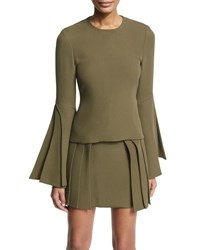 Brandon Maxwell Layered Sleeve Silk Blouse Olive Black