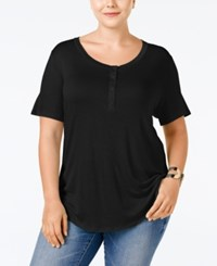 Stoosh Plus Size Henley T Shirt Black