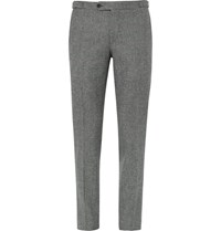 Thom Sweeney Grey Slim Fit Prince Of Wales Checked Wool Suit Trousers Gray