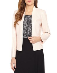 Tahari By Arthur S. Levine Leatherette Open Front Jacket Pink Pearl