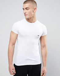 Emporio Armani Cotton Crew Neck T Shirt In Muscle Fit White