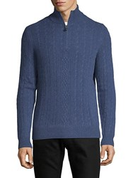 Saks Fifth Avenue Cable Knit Cashmere Sweater Navy