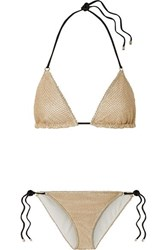Missoni Mare Metallic Crochet Knit Triangle Bikini Beige