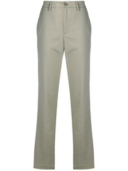 Closed Side Stripe Tailored Trousers Green