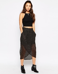 Rock And Religion Mesh Wrap Front Skirt Black