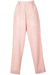Fleur Du Mal Tapered Eyelet Trousers Pink