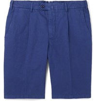 Loro Piana Slim Fit Pleated Cotton And Linen Blend Bermuda Shorts Royal Blue