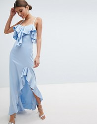 Jessica Wright Cold Shoulder Maxi Dress With Frill Detail And Side Slit Blue
