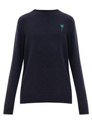 The Elder Statesman Palm Tree Embroidered Cashmere Sweater Navy Multi