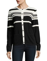 Karl Lagerfeld Metallic Striped Cardigan Black Gold