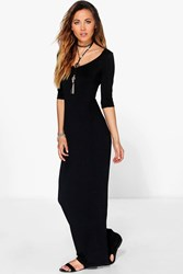 Boohoo 3 4 Sleeve Scoop Neck Maxi Dress Black